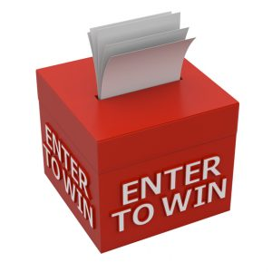 enter to win words on a box - 3d rendering